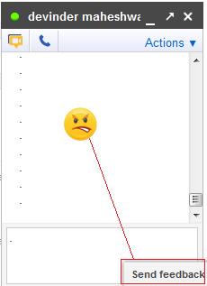 Google Plus Chat 'Emoticons Key' Hidden By 'Send Feedback' Option