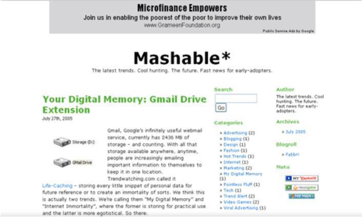 Mashable in 2005