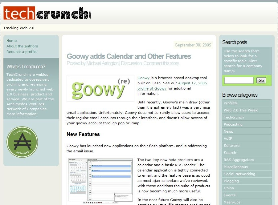 techcrunch in 2005