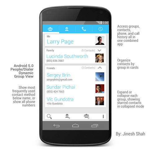 Android 5.0 People Dynamic Group