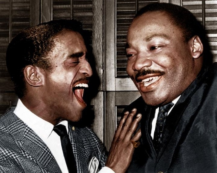 Sammy Davis Jr. sharing a laugh with Dr. Martin Luther King in his own dressing room, back-stage
