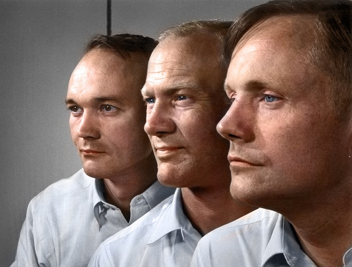 The crew of Apollo 11, the first men to walk on the moon - Left to right is Michael Collins, Buzz Aldrin, and Neil Armstrong
