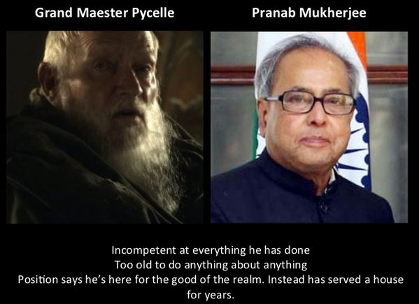 Pranab Mukherjee as Grand Maester Pycelle
