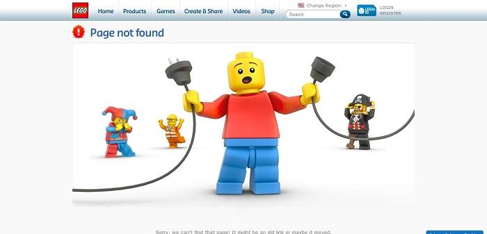 LEGO.com 404 page