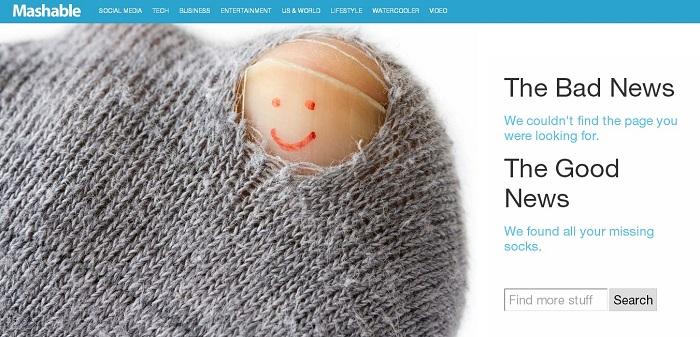Mashable 404 page