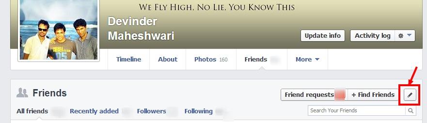 Facebook friend list hide steps
