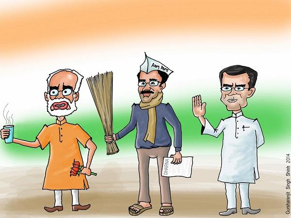 Narendra Modi Arvind Kejriwal Rahul Gandhi Caricature