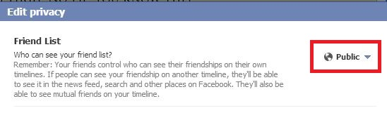 facebook friend default setting
