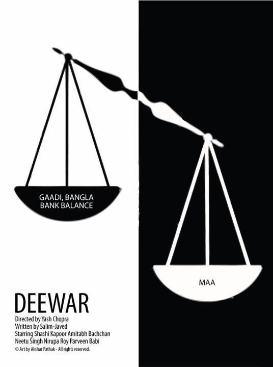 Deewar movie's Minimalistic poster Akshar Pathak