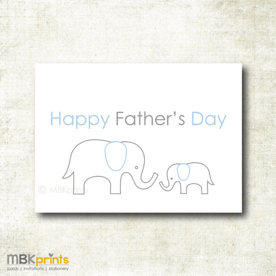 Happy Father's Day, Elephant Dad and Baby,