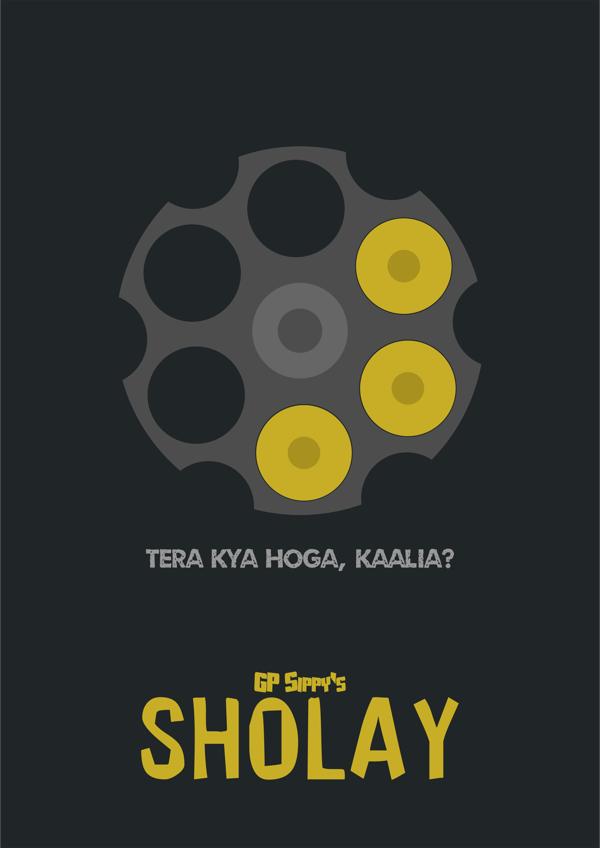 Sholay movie's Minimalistic poster Akshar Pathak