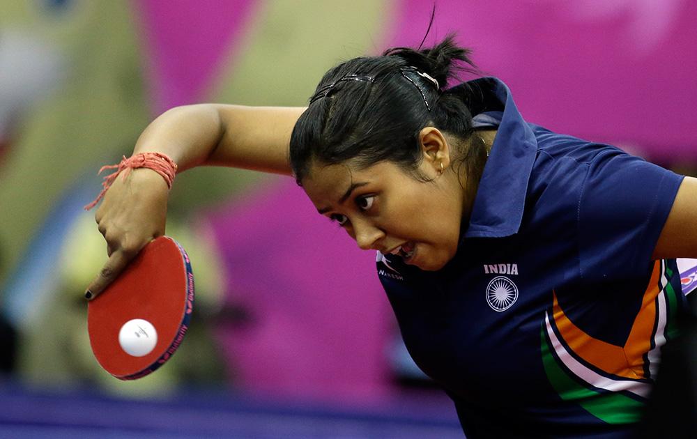 Ankita Das During Her Women's Single Table Tennis Match