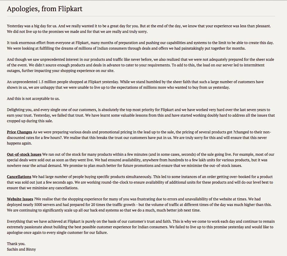 Aplogies from Flipkart Screenshot pic