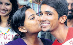 Kiss of love protesters kissing infornt of law college