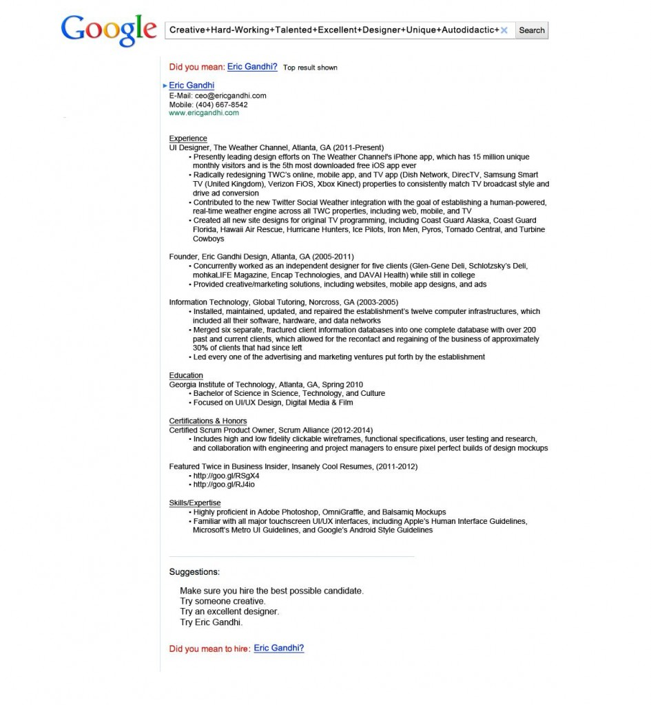 most creative resumes for  google resume