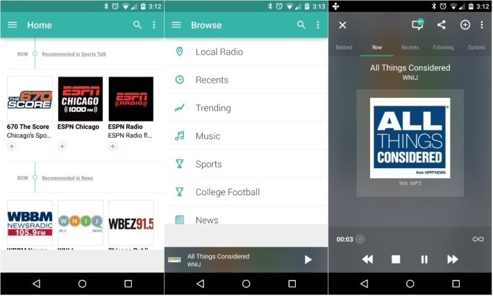 tunein-radio material design android app