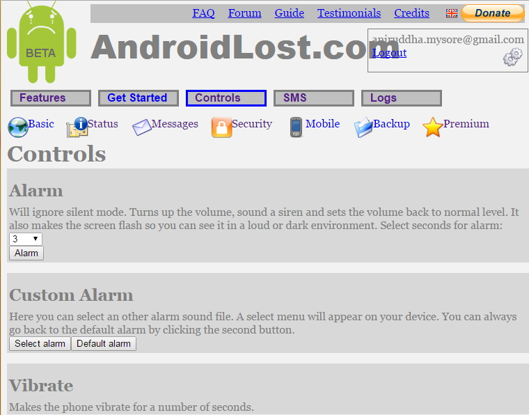 Android Lost web interface
