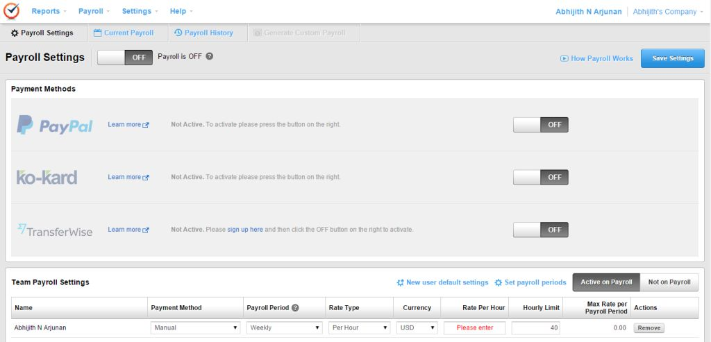 Time Doctor Review Payroll Settings