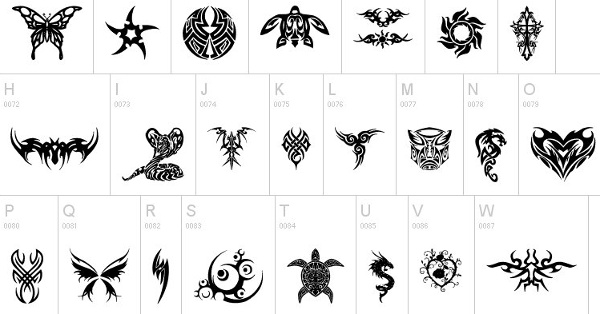 Tribal Tattoo Letters Alphabet