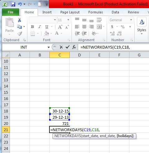 calculating the number of working days