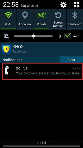 Go Live Notification on Meerkat