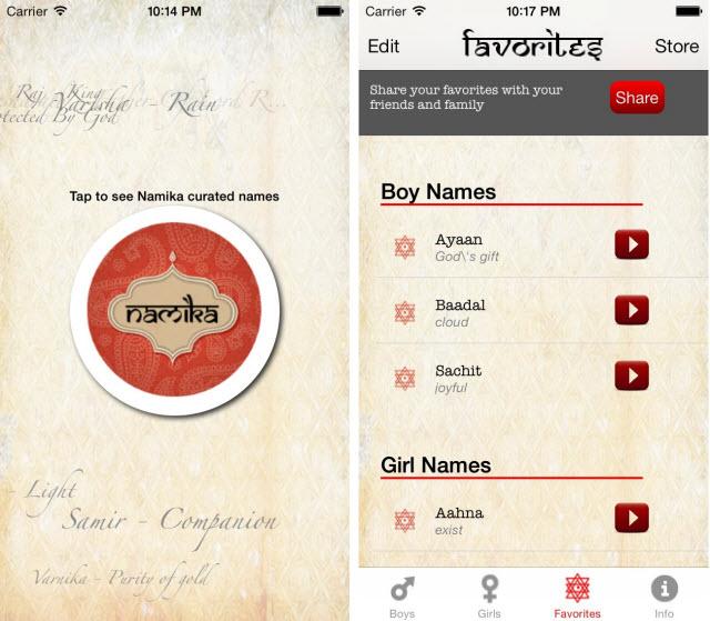 Namika Indian baby names