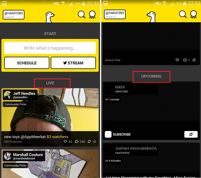 Watching a Live Stream on Meerkat