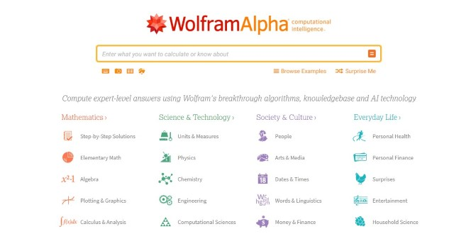 6. WolfForm Alpha