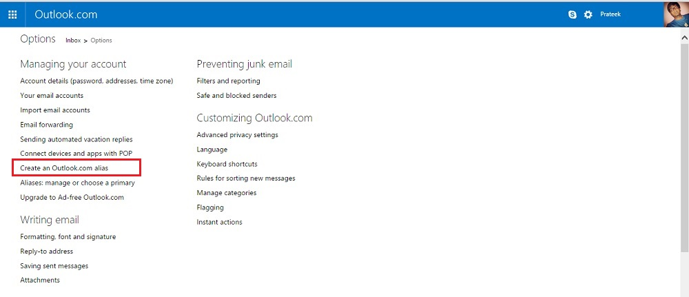 Create an Outlook.com alias