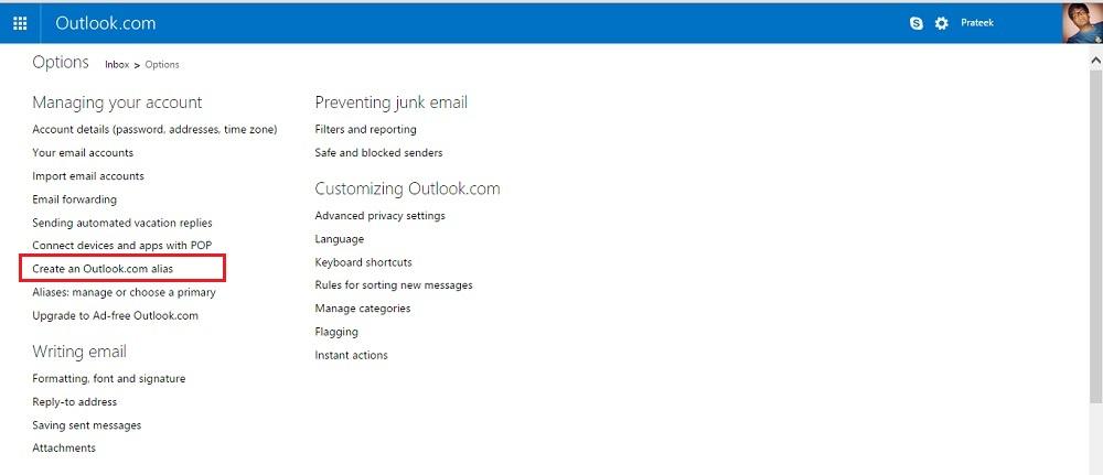 Create an Outlook.com alias