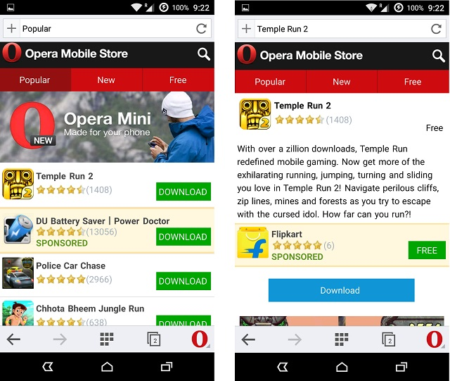 Download an app from Opera app store