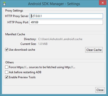 Android SDK Manager Settings