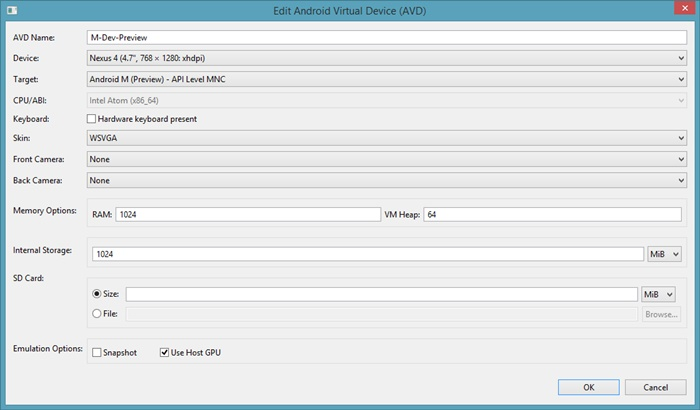 Create AVD using AVD Manager
