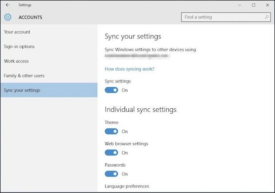 Customize the Sync Settings