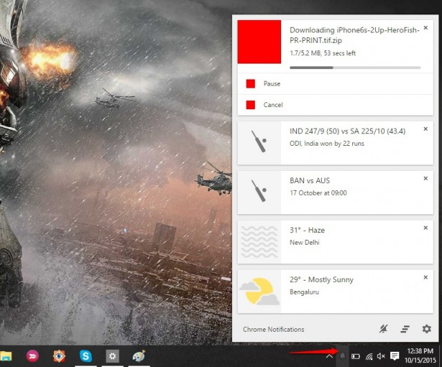 Chrome flags download in Chrome notification