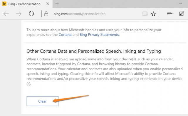 Cortana cloud data clear
