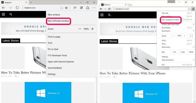 Edge vs Chrome Incognito InPrivate