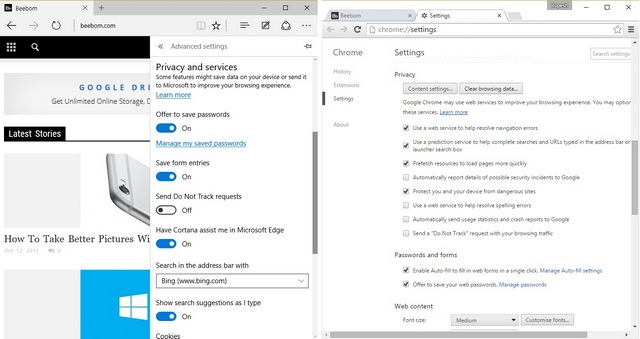 Edge vs Chrome Privacy