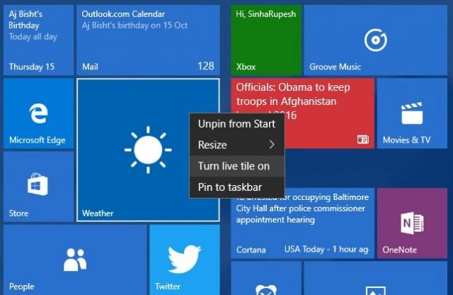 Live tile updates Windows 10