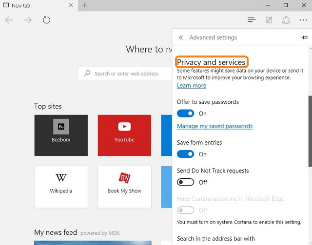 Microsoft Edge Privacy settings
