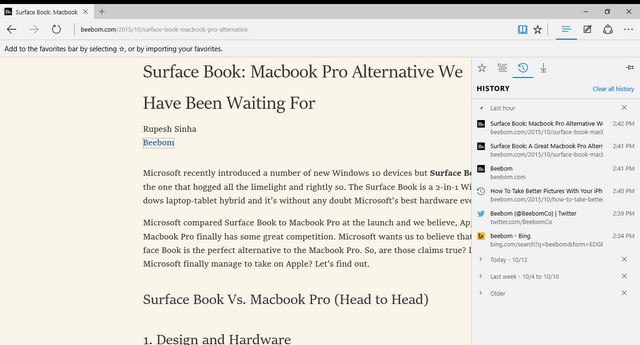 Microsoft Edge Reading View
