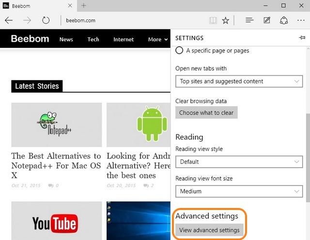 Microsoft Edge advanced settings