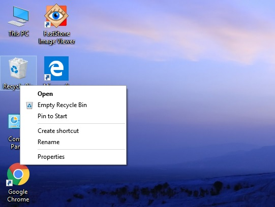 Recycle Bin Pin to Start Windows 10