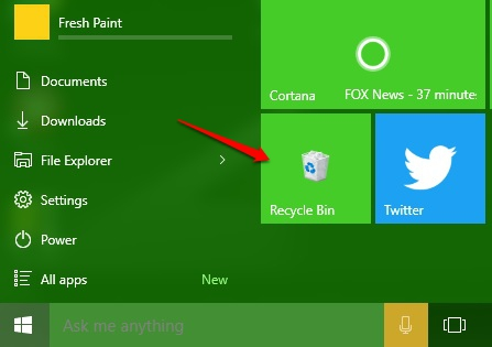 Recycle Bin Tile Start Menu