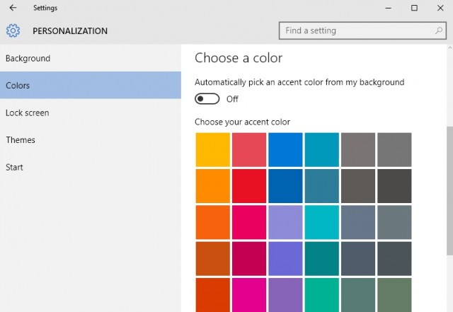Start menu color settings