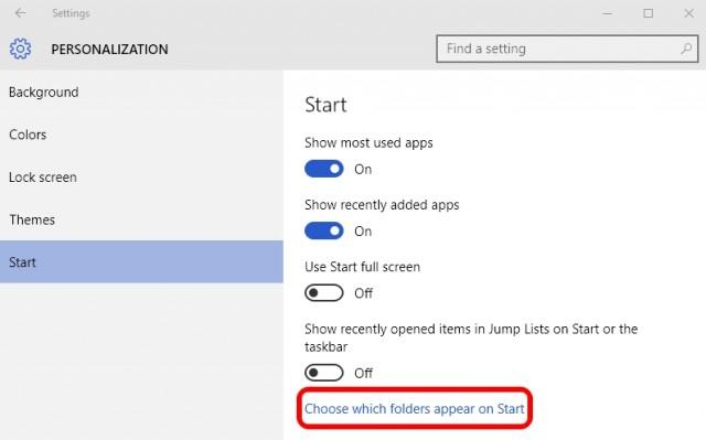Start menu folders Windows 10