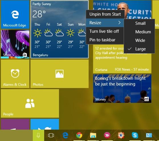 Start menu tile resize Windows 10