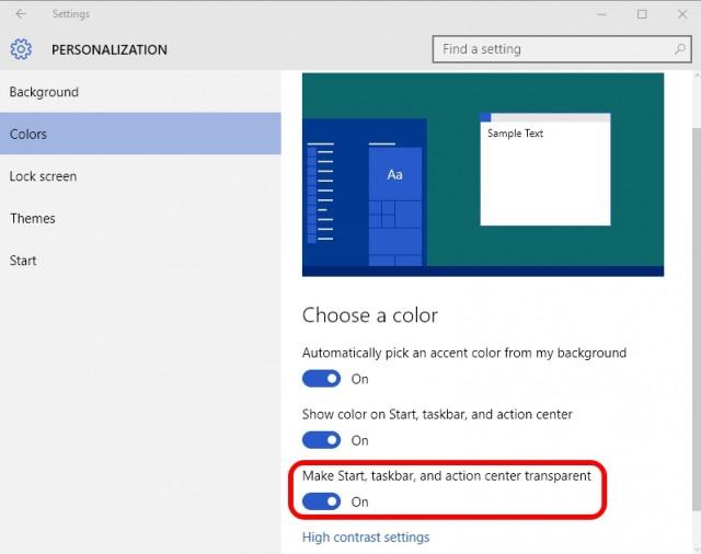 Start menu transparent Windows 10