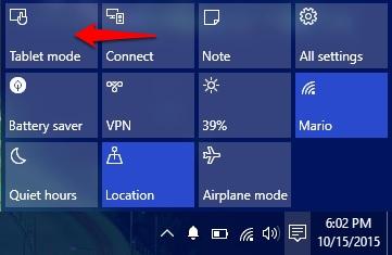 Tablet mode Windows 10