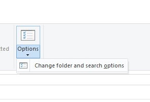 Windows 10 Folder and search options